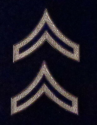 PVT Private Chevrons BLUE ENAMEL/Silver Pair Collar Pins Rank Insignia police