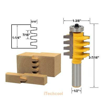 "NEW Reversible Finger Joint Glue Joint Router Bit 1/2"" Shank Woodworking Cutter"