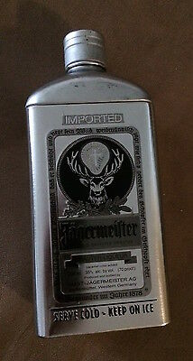 Limited Edition Jagermeister Metal (Tin) Bottle Cover Silver & Black NEW