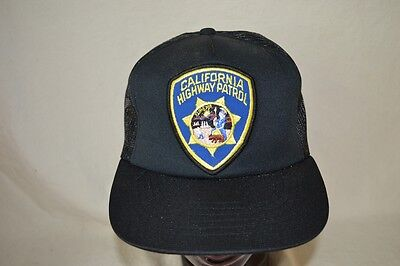 VINTAGE California Highway Patrol Police Hat Ball Cap Snap Back Mesh