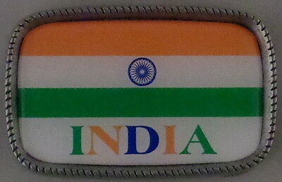 INDIA FLAG Antique Silver Belt Buckle USA MADE Indian