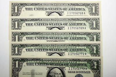 Group of Five Consecutive S/N Offset Printing Error Notes About Uncirculated+++