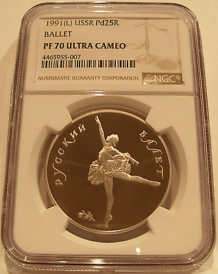 Russia USSR 1991L Palladium 1 oz 25 Roubles NGC PF-70UC Ballet
