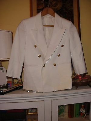 Boys Vintage Gant White Linen Look Sports Coat Blazer 8 to 9