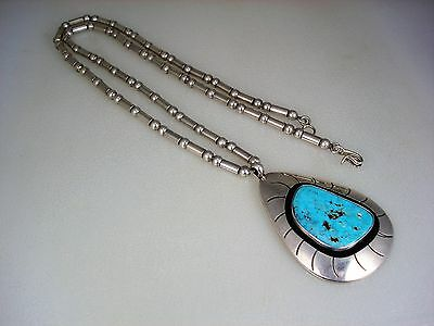 OLD NAVAJO STERLING SILVER BEAD NECKLACE w/ MORENCI TURQUOISE SHADOWBOX PENDANT