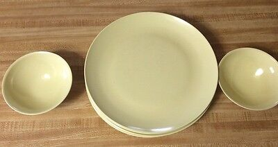 "Vtg Yellow Melmac Somerset Dinner Plates 10"" Boontonware Dishes (Lot 7) 2 bowls"