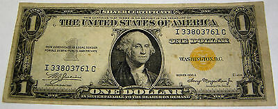 One Dollar Silver Certificate North Africa US Yellow Seal  You Grade 1935-A