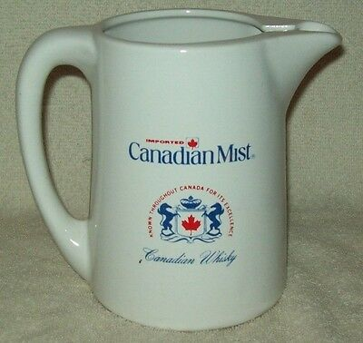 Vintage CANADIAN MIST BAR TOP JUG PITCHER CERAMIC Canadian Whiskey
