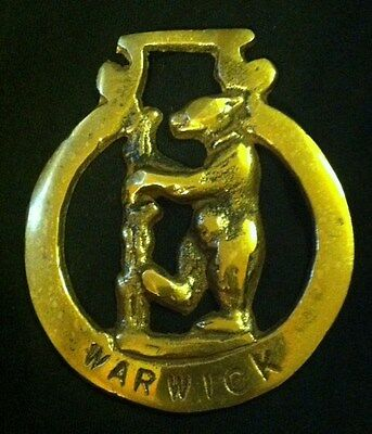 Vintage EARL OF WARWICK BEAR Horse Harness Brass England WOW YOUR WALLS Chipped!
