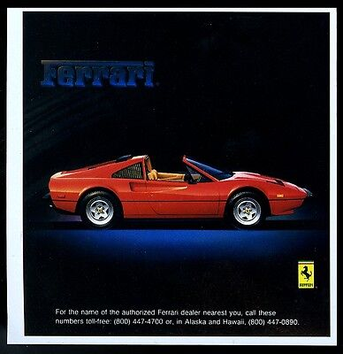 1984 Ferrari 328 GTS red car photo vintage print ad