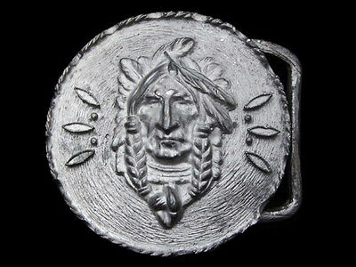 LA21167 GREAT VINTAGE 1970s ***FACE OF AN INDIAN CHIEF*** BELT BUCKLE