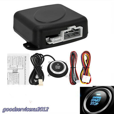 Autos DC12V Blue LED Start Security System Key Passive Keyless Entry Push Button