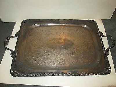 """Vintage Heavy Silver Plated Platter Tray Oblong Side Handles Silverplate 18""""x23"""""""