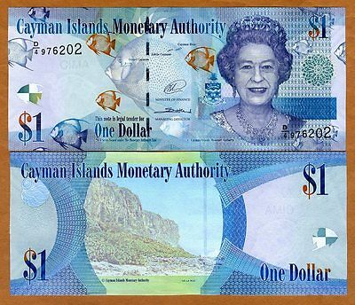 Cayman Islands, $1, 2014 (2017), P-38d QEII, D/4,  UNC > New date and Signature