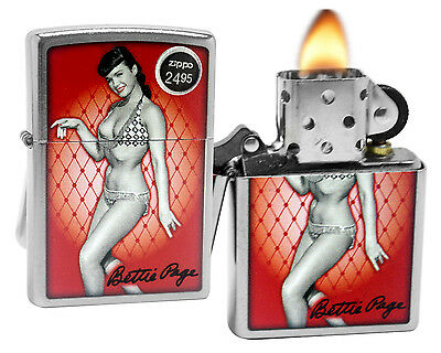 Zippo 29441 Bettie Page Pinup Girl Street Chrome Finish Windproof Pocket Lighter