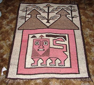 Vintage African Rug Or Wall Hanging ~ Handmade ~ Pink Foo Dog Under Brown Roof