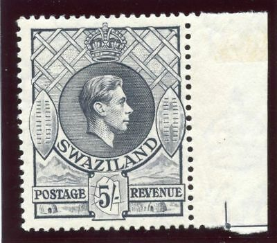 Swaziland 1938 KGVI 5s grey (p13½x13) MLH. SG 37.