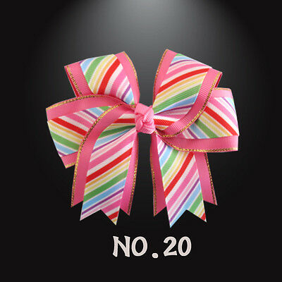 """50 BLESSING Happy Girl 4.5"""" Rainbow Cheer Hair Accessories Bow Clip 30 No."""