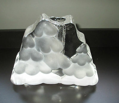 Crystal Double Bud Vase Modern Frosted Winter Trees Solid Possibly Walther
