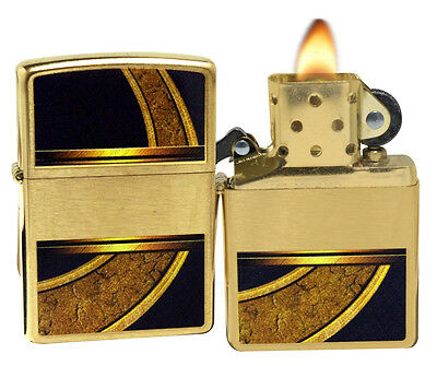 Zippo 28673 Gold And Black Design Brushed Brass Windproof Pocket Lighter NEW