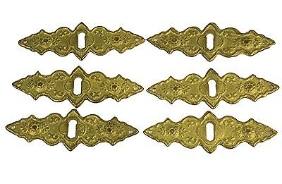 Set of 6 VICTORIAN PRESSED BRASS KEYHOLE COVER CABINET CUPBOARD DOOR FURNITURE