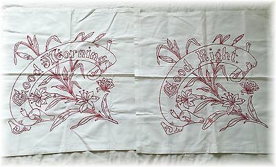 Vintage Antique Red Work Pillowcases Covers 2 Good Morning Night Redwork Linens