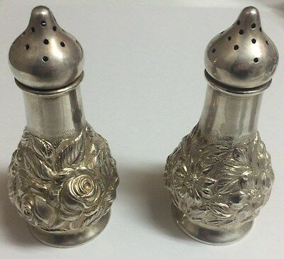 Stieff Sterling Silver Salt and Pepper Shakers Roses
