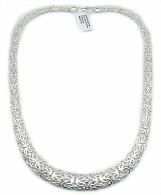 """Graduated All Shiny Byzantine Chain Necklace Real 925 Sterling Silver QVC 18 20"""""""