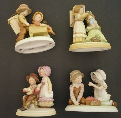 Collection Of 4 Holly Hobbie Porcelain Figurines, Perfect Blend, Blue Girl,