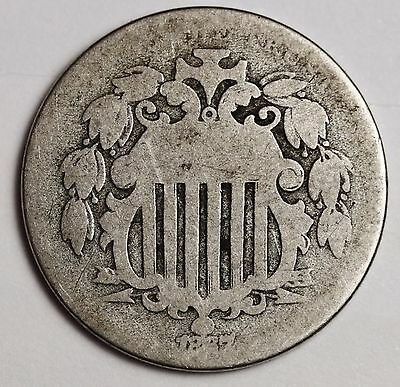 1867 Shield Nickel.  With Rays.  Circulated.  112784