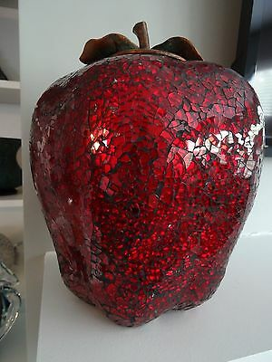 "LARGE 11"" CRACKLE MOSAIC GLASS RED APPLE Figurine w/ Metal Top Decoration"