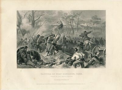 General Smith at Battle of Fort Donelson Tennessee 1863 antique Civil War print