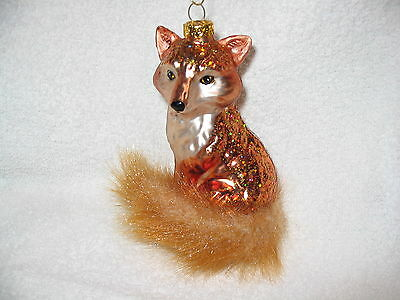"Fox Glass Ornament - Red Fox with Bushy Tail - 4"" Tall - Wild Forest Animal"