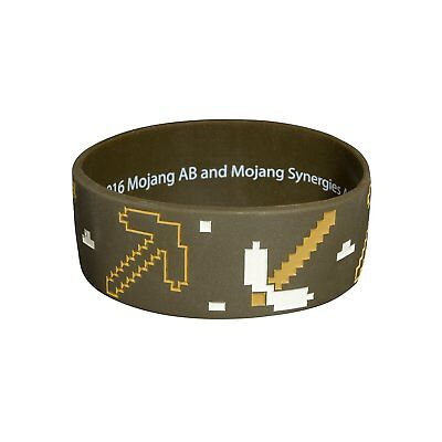 Authentic MINECRAFT Miner Silicone Rubber Bracelet Brown NEW