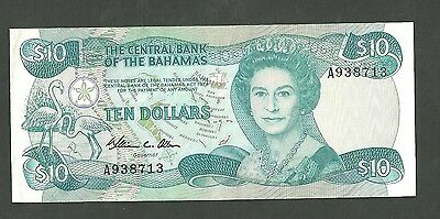1984 Central Bank Of The Bahamas 10 Dollars Currency Note 46A Paper Money Ten
