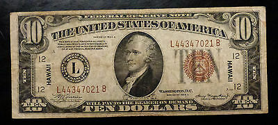 {BJSTAMPS} 1934 A $10 Hawaii WWII Over Print Federal Reserve Note San Francisco