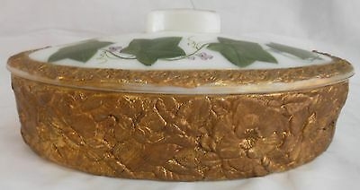 Vintage Phoenix Consolidated Large Oval Milk Glass Box Hand Painted