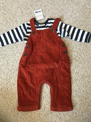 Next Cord Dungarees & Long Sleeve Bodysuit Outfit 0-3 Mths  BNWT New Baby Gift