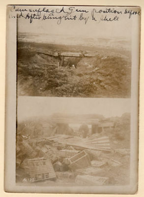 WWI Before After Gun Position Hit by Artillery 5x7 Original Photo