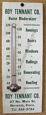 Roy Tennant Co Norwich Connecticut Vintage Advertising Wood Sign/Thermometer