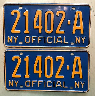 "1966 New York State Official License Plate Plates Matching Pair "" 21402 A"" Ny 66"