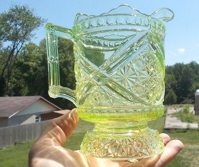 "1891 Original 6 1/2""vaseline Glass Pitcher Daisy & Button With Crossbars Eapg"