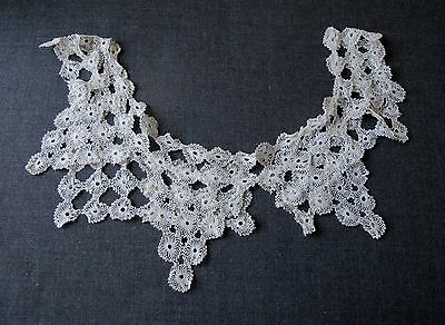 Antique Needle Lace Flowers Large Collar Great For Marriage Bridal     7841Q
