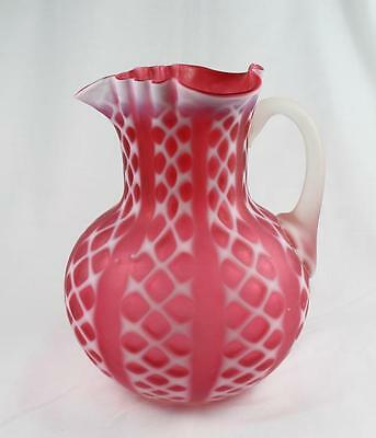 "CRISS CROSS RUBINA OPALESCENT WATER PITCHER  SATIN FINISH 9"" TALL X 7"" WID as is"