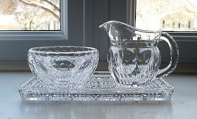 Pressed Glass Creamer Open Sugar Tray Circle Lens Star 3 Piece Clear