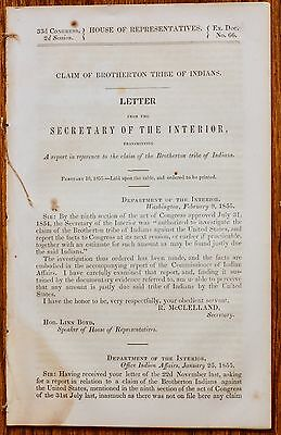 1855 RACIST Report on the Brotherton Indian Tribal Claim sent to 33rd Congress