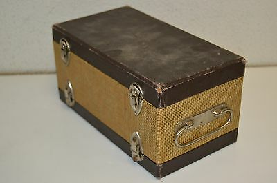 Vintage Mid Century Tweed Photo Slide Hard Carrying Case Double Sided Box Rare