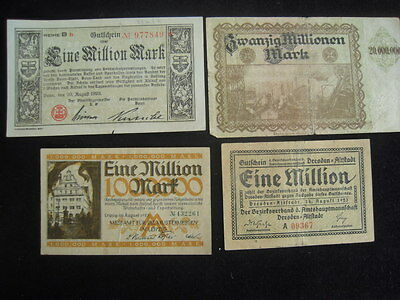 SET 1 – 4 Weimar Republic German Inflated Mark Currency Notes