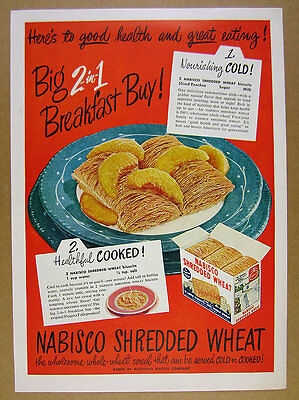 1949 Nabisco Shredded Wheat cereal box bowl peaches color art vintage print Ad