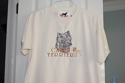 Embroidered Short Sleeved T-Shirt Cairn Terrier Large L White